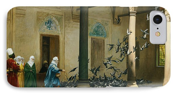 Harem Women Feeding Pigeons In A Courtyard IPhone Case