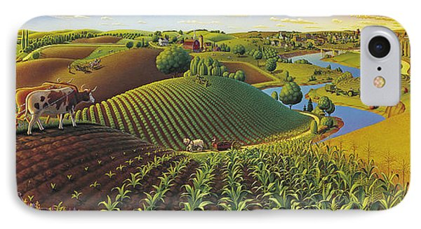 Rural Scenes iPhone 7 Case - Harvest Panorama  by Robin Moline