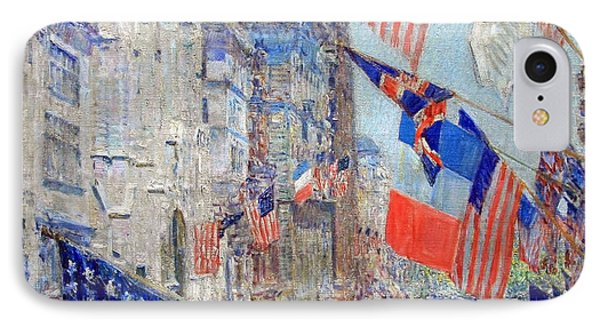 Hassam's Allies Day May 1917 -- The Avenue Of The Allies IPhone Case by Cora Wandel