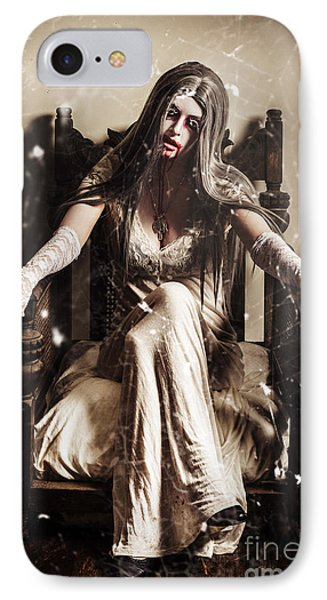Haunting Horror Scene With A Strange Vampire Girl  IPhone Case by Jorgo Photography - Wall Art Gallery