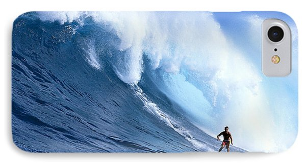 Hawaii, Maui, Jaws, Sierra Emory Looks At Camera, In Front Of Large Wave IPhone Case by Erik Aeder