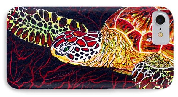Hawksbill Turtle IPhone Case by Debbie Chamberlin