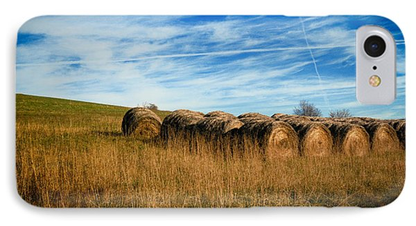 Hay Bales And Contrails Phone Case by Amy Cicconi