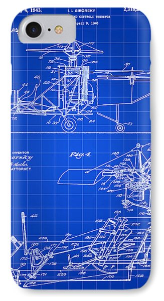 Helicopter iPhone 7 Case - Helicopter Patent 1940 - Blue by Stephen Younts