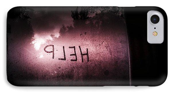 Help Written On A Misty Glass Window. No Escape IPhone Case by Jorgo Photography - Wall Art Gallery
