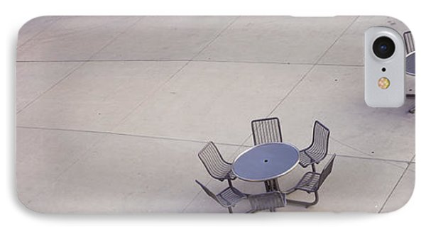 High Angle View Of Tables And Chairs IPhone Case by Panoramic Images