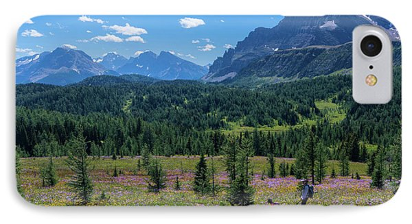 Hiker At Wildflowers Meadow, Monarch IPhone Case