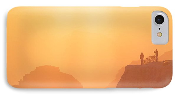 Hikers Bathed In Sunrise Sunrays In Grand Canyon National Park Square IPhone Case