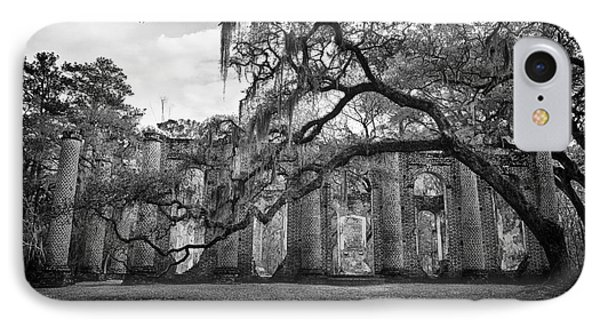 Historic Sheldon Church 4 Bw IPhone Case by Carrie Cranwill