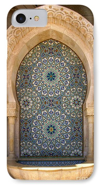 IPhone Case featuring the photograph Holy Water Fountain Hassan II Mosque Sour Jdid Casablanca Morocco  by Ralph A  Ledergerber-Photography