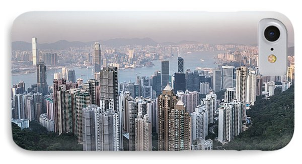 Hong Kong Skyline From Victoria Peak At Sunset IPhone Case by Matteo Colombo