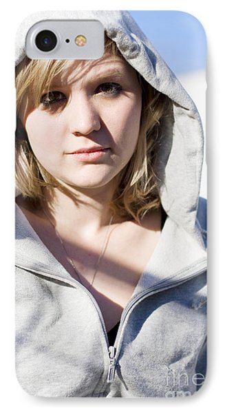 Hooded Winter Woman IPhone Case by Jorgo Photography - Wall Art Gallery