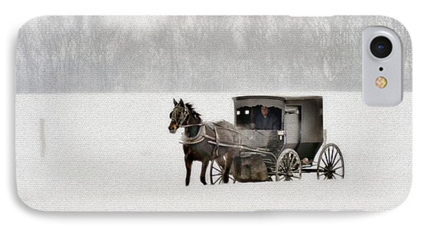 Horse And Buggy In Snow Storm Phone Case by Dan Friend