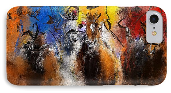 Horse Racing Abstract  IPhone Case by Lourry Legarde