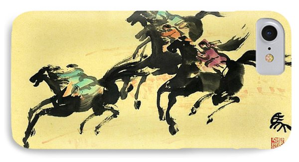 Horse Racing  IPhone Case by Ping Yan