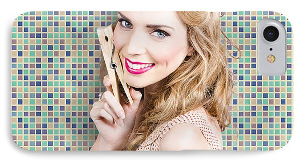 Housework. Smiling Young Woman Holding Laundry Peg IPhone Case