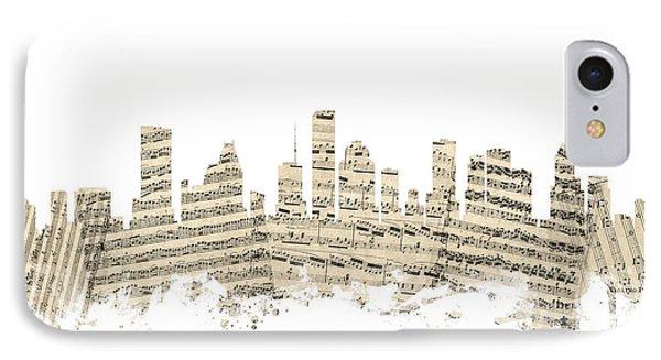Houston Texas Skyline Sheet Music Cityscape IPhone Case by Michael Tompsett