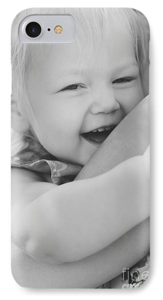 Hugging Mother And Daughter In Black And White IPhone Case