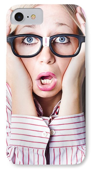 Hysterical Business Woman Having Panic Attack IPhone Case