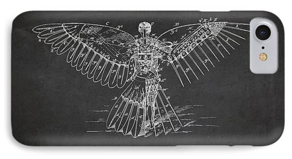 Icarus Flying Machine Patent Drawing Rear View Phone Case by Aged Pixel