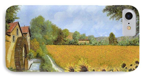 Sunflower iPhone 7 Case - Il Mulino E I Girasoli by Guido Borelli