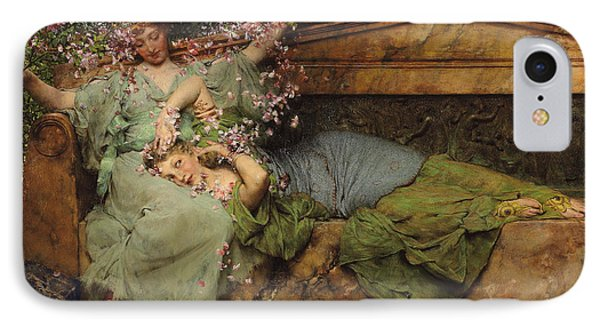 In A Rose Garden IPhone Case by Sir Lawrence Alma Tadema