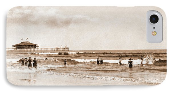 In The Surf At Old Orchard, Maine, Beaches IPhone Case by Litz Collection