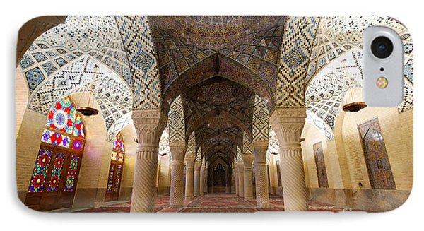 Interior Of The Winter Prayer Hall Of The Nazir Ul Mulk Mosque In Shiraz Iran IPhone Case by Robert Preston
