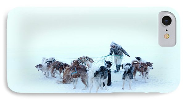 Inuit Hunter And Husky Dog Team IPhone Case