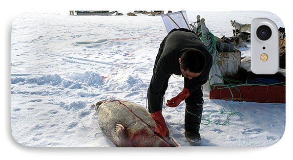 Inuit Hunter Butchering A Seal IPhone Case