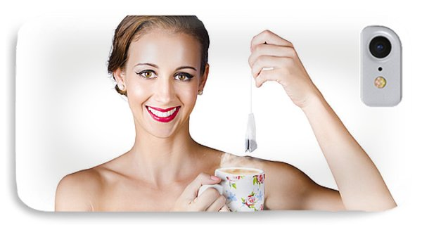 Isolated Woman With Cup Of Tea IPhone Case by Jorgo Photography - Wall Art Gallery