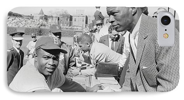 Wrigley Field iPhone 7 Case - Jackie Robinson And Nat King Cole At Wrigley Field by The Harrington Collection