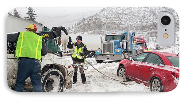 Jackknifed Truck Blocking Highway IPhone Case by Jim West