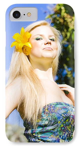 Jaunty Beauty With Flower IPhone Case by Jorgo Photography - Wall Art Gallery