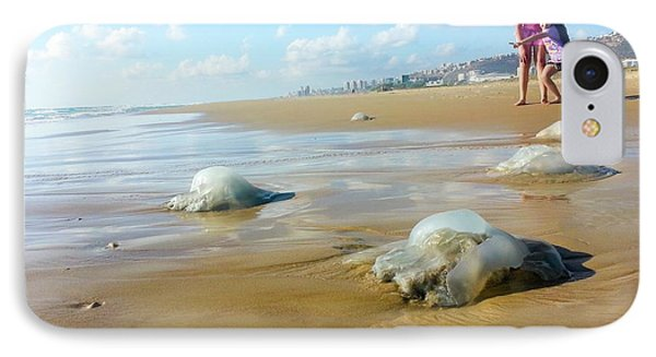 Jellyfish On The Beach IPhone Case by Photostock-israel