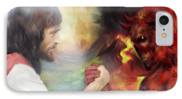 Jesus Vs Satan IPhone Case by Mark Spears