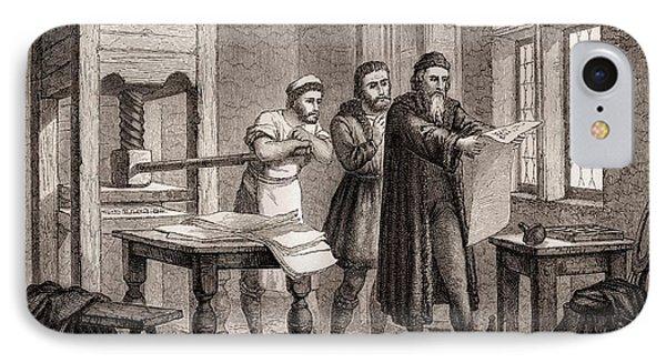 Johann Gutenberg IPhone Case by Michael Marten