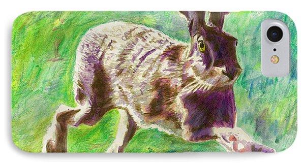 Joyful Hare IPhone Case by Helen White