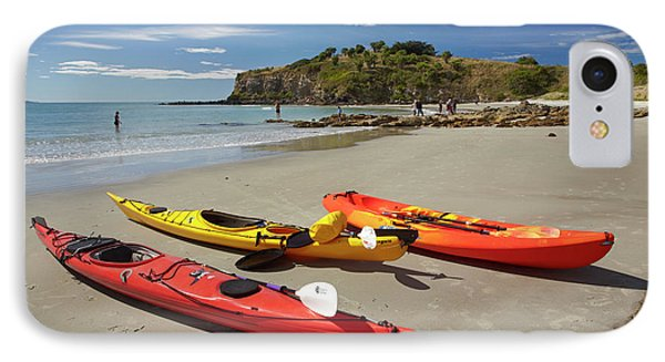 Kayaks On Beach Near Doctors Point IPhone Case by David Wall