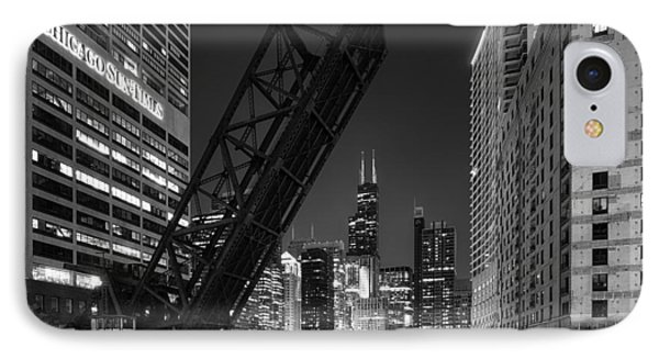 Kinzie Street Railroad Bridge At Night In Black And White IPhone Case by Sebastian Musial