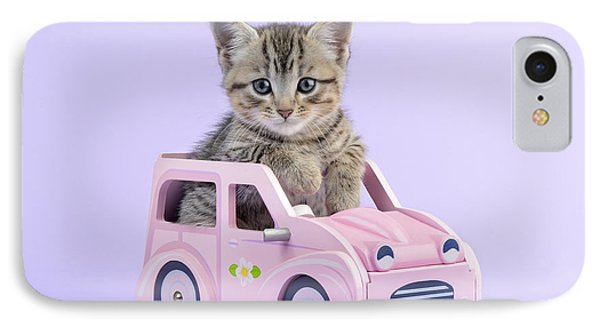 Kitten In Pink Car Phone Case by Greg Cuddiford
