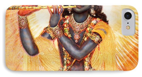 Krishna With The Flute IPhone Case by Ananda Vdovic