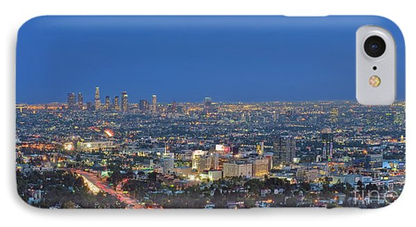 L.a. Skyline Los Angeles Ca Cityscape Night Dusk Lit Lights On 3 IPhone Case