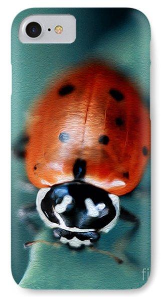 Ladybug On Green Leaf IPhone Case by Iris Richardson