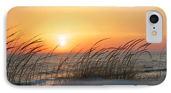 Lake Michigan Sunset Panorama IPhone Case by Mary Lee Dereske