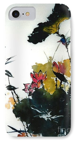 Chinese Flower Brush Painting IPhone Case by Rose Wang