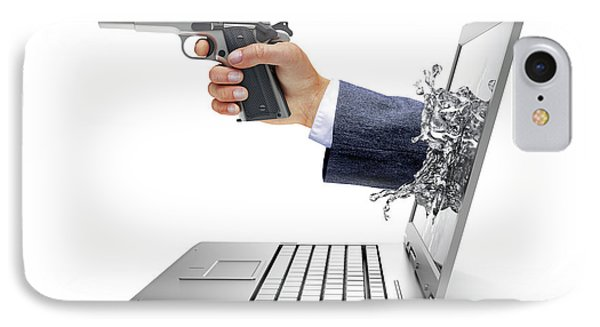 Laptop With Hand And Gun IPhone Case by Leonello Calvetti