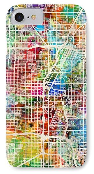 Las Vegas City Street Map IPhone Case by Michael Tompsett