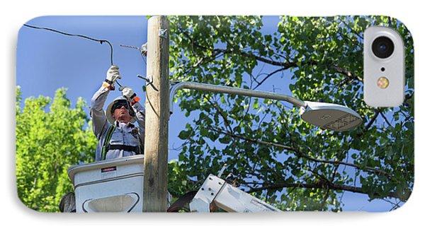 Led Street Light Installation IPhone Case