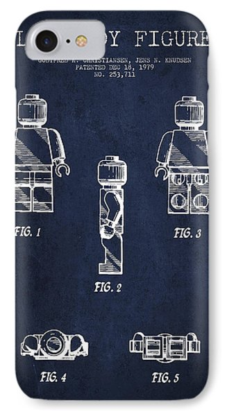 Lego Toy Figure Patent - Navy Blue IPhone Case by Aged Pixel